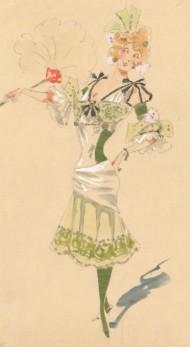 A.P. - circa 1906 Watercolour, 1940s Costume Design