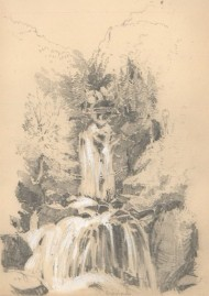 William Waterhouse - Two Mid 19th Century Graphite Drawings, Alpine Waterfalls