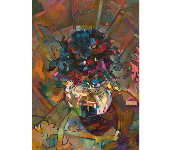 John Cherrington (1931-2015) - Signed 1987 Oil, Abstracted Floral Still Life