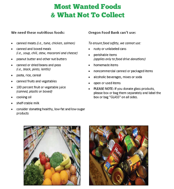 Foods to donate to our food drive