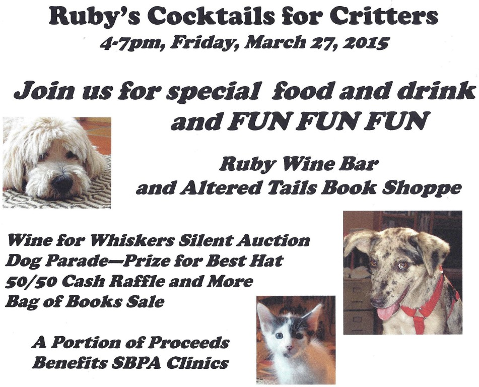 Ruby's Cocktails for Critters, March 27
