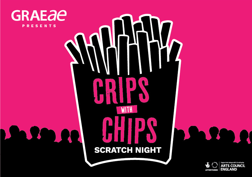 A graphic of a chip packet, with text on-top which reads 'Crips with Chips' against a pink background