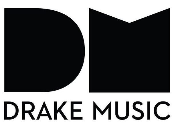 Drake Music Logo black shapes resembling letters D and M