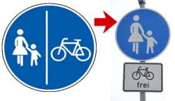 Bild: Radwegschild & Radfahren frei
