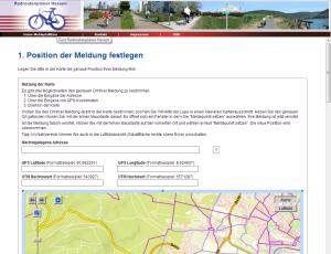 Bild: Eingabemaske Fahrradmängel in Hessen