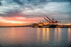 Cargo cranes at sunset in the Port of Long Beach