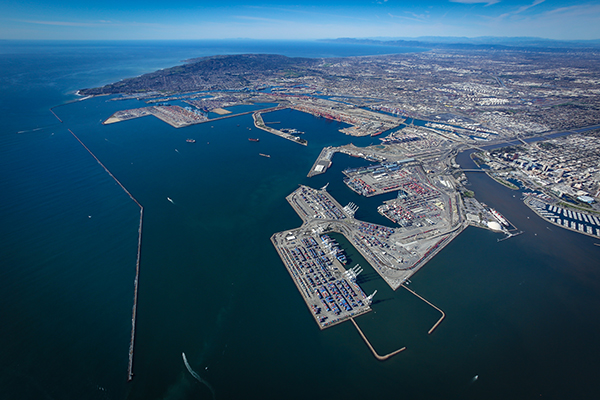 Aerial photo of Port of Long Beach and San Pedro Bay