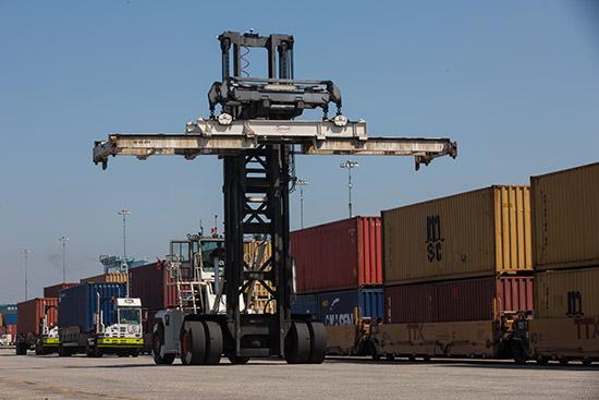 Rail equipment at Port of Long Beach