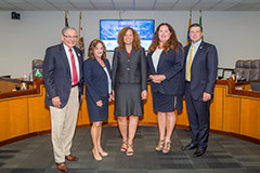 Harbor Commission, President Lori Ann Guzmán, center