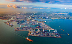 Aerial of Port of Long Beach