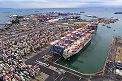 Cargo terminal at Port of Long Beach
