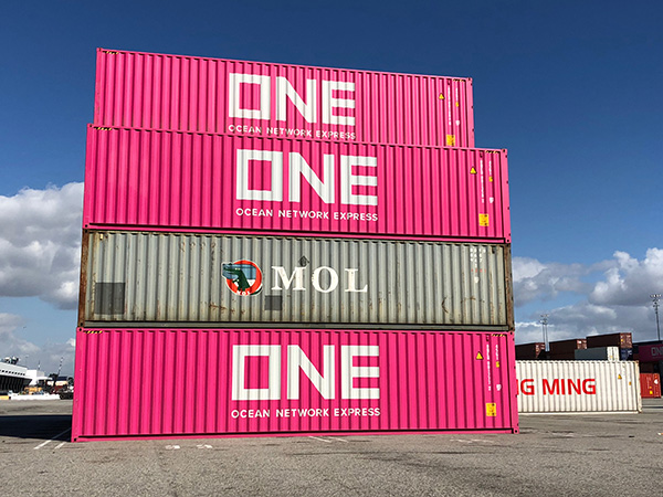 ONE containers at the Port of Long Beach
