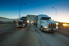 Trucks at Port of Long Beach