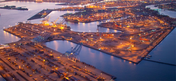 Port of Long Beach at night