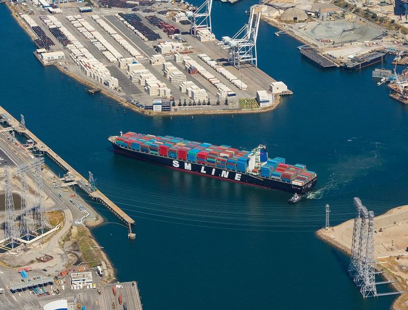 Cargo ship at Port of Long Beach