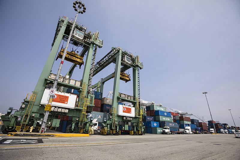 Cranes on Pier J in zero-emissions demonstration program