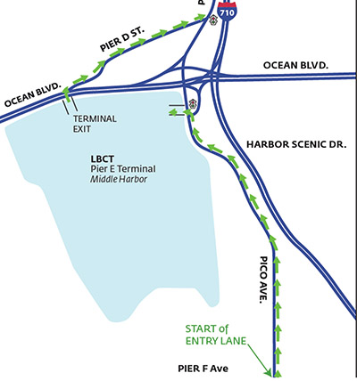 Map of new truck route to Pier E
