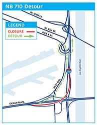 Map of NB 710 Freeway Detour