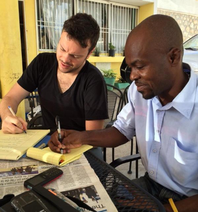 Franndy Lesperance (KJM) and Étienne Chénier-Laflèche (GJC) prepare for meetings in Port-au-Prince, November 2014.