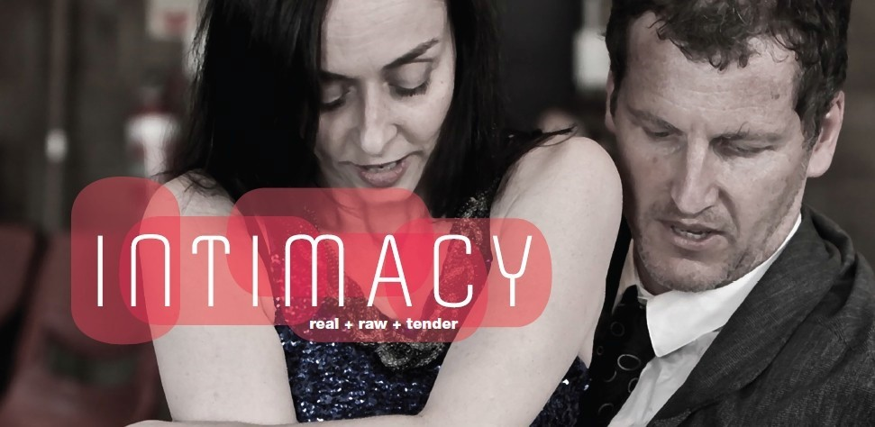"Image of a man and a woman embracing with the text ""intimacy"""