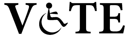 "Image of the word ""vote"" where the letter o is a wheelchair"