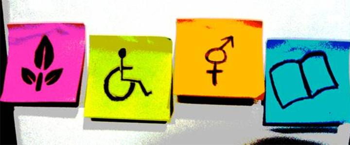 Image of post it notes with a plant, wheelchair, gender symbol and a book