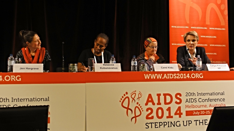 Speakers in a panel discussion on violence against women at the 2014 AIDS Conference, Melbourne.