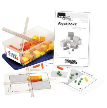 algeblocks, storage bin, and instructions