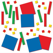 Brightly colored squares and shapes