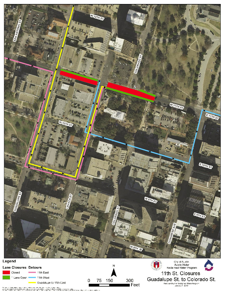 Photo of road closures on West 11th St. and detours around the closures