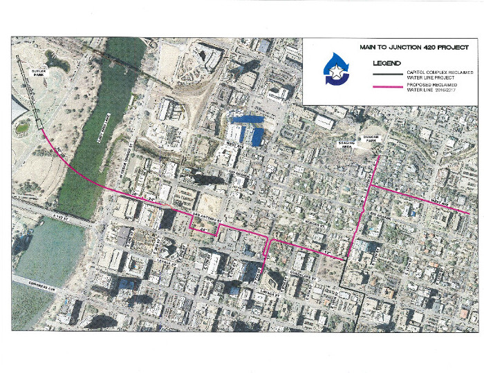 Map of the second phase of the downtown reclaimed water system