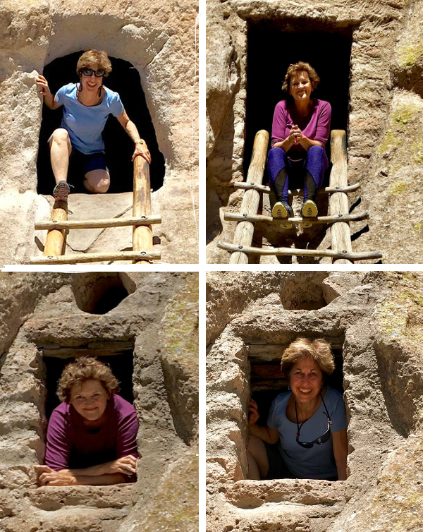 four shots of Judy and Elizabeth posing in the entries to cliff dwellings