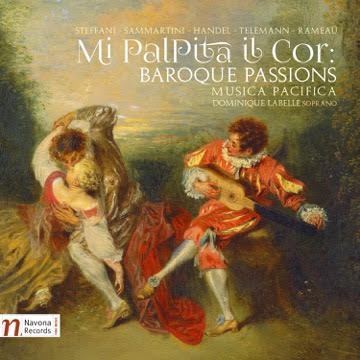 Mi Palpita Il Cor album cover: a dreamy painting of a couple dancing to the music of a troubadour with a lute