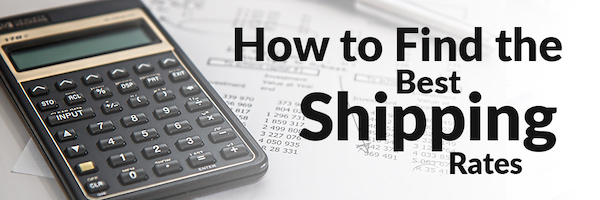 "An image of a calculator. The text reads ""How to find the best shipping rates."""