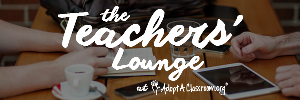 "A faded image of two people sitting at a table drinking coffee. The text reads ""The Teachers Lounge at AdoptAClassroom.org."""