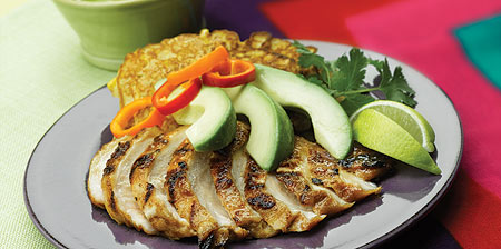 Chicken Fajita Grill with Avocado and Honey Corn Cakes
