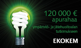 Ekokem - 120 000 euroa apurahaa ympäristö- ja jätehuoltoalan tutkimukseen