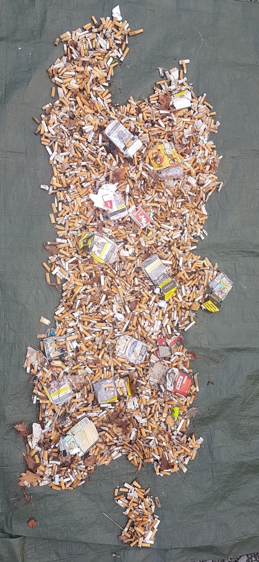 All smoking trash items collected by the Te Ha - Waitaha team arranged into the shape of the South Island.