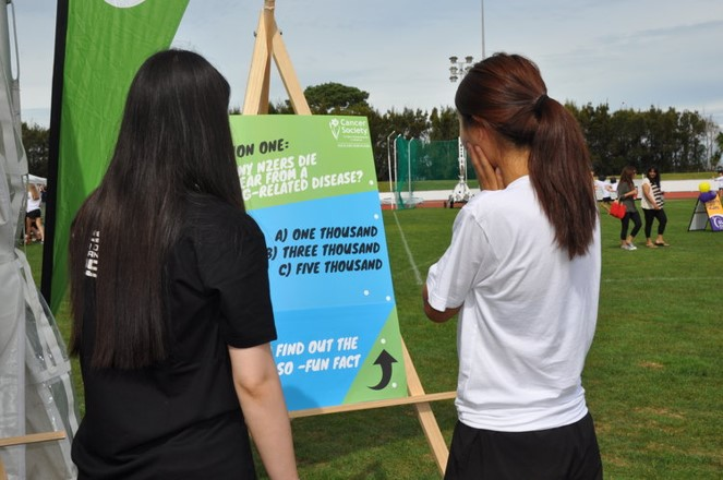 Two women interacting with one of the 6 smokefree question boards.