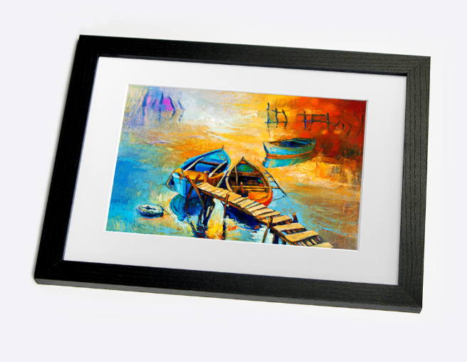 golden sail boat framed print