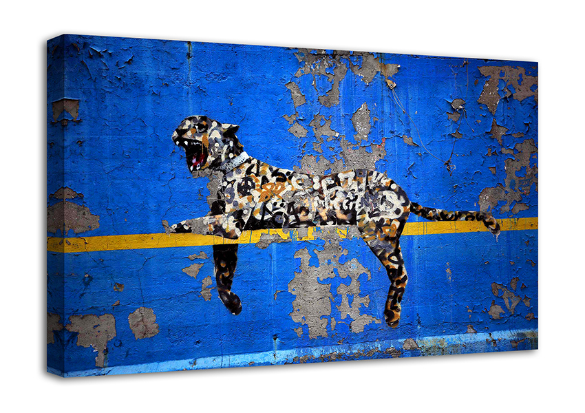 BANKSY BLUE LEOPARD CANVAS ART