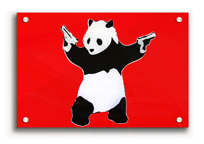 banksy panda guns acrylic print