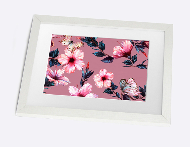 Flower butterflies framed print