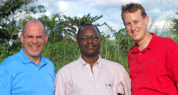John Smith, left, and Ryan Aument, right, have formed a partnership to encourage the ministry of Augustine Hibaile in the Central African Republic.