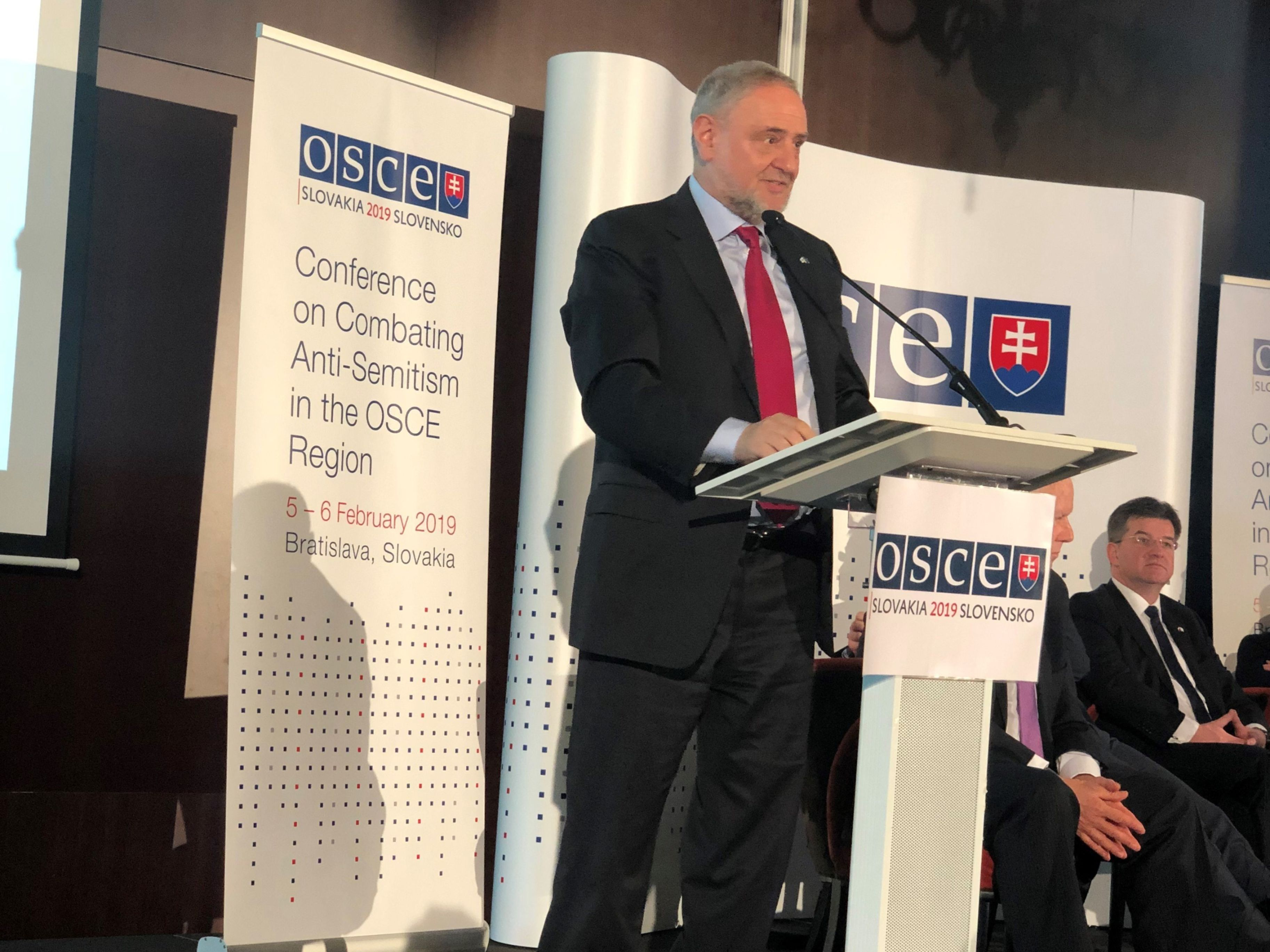 WJC CEO and Executive Vice President Robert Singer speaking at the OSCE conference. (c) Courtesy of World Jewish Congress