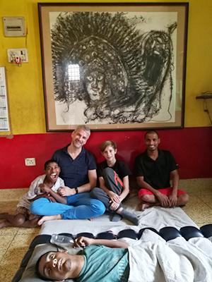 Bappa, Adam, Frankie, Vijay and Ratan (lying down)