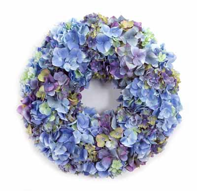 Blue and Purple Mixed Hydrangea Wreath 20in