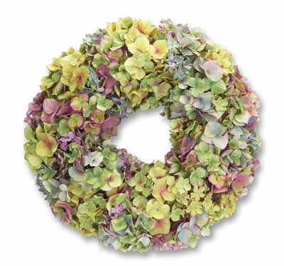 Green and Purple Mixed Hydrangea Wreath 20in