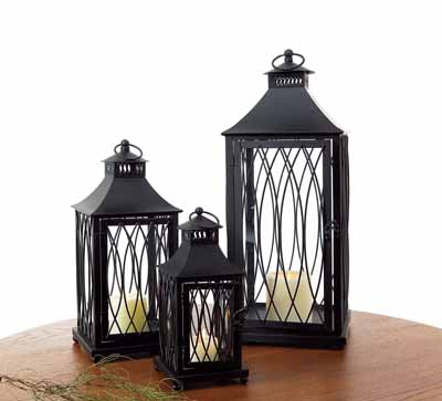 Modern Black Metal Lantern Set of 3 11in 16in and 23in Tall