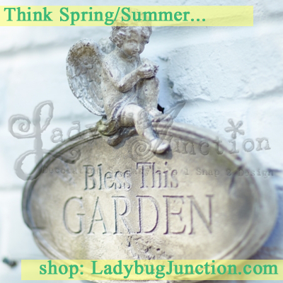 Cherub Wall Plaque Bless This Garden